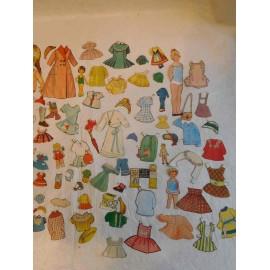 Magnífico Lote de Recortables de Muñecas. Años 50.60.