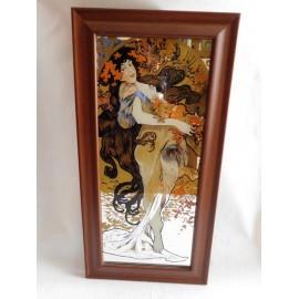 Espejo Serigrafiado con motivo Art Deco  Art Novo. Representación de una de las estaciones del año.