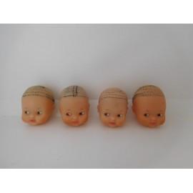 Lote de cuatro cabezas Barriguitas que han perdido el pelo
