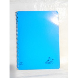 Cuaderno Caballo color azul dos rayas. Espiral. Años 70-80.