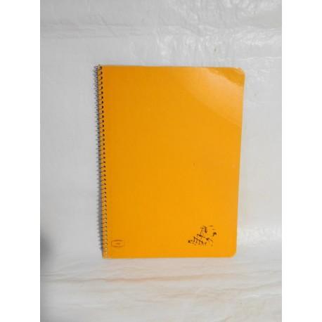 Cuaderno Caballo color naranja dos rayas. Espiral. Años 70-80.