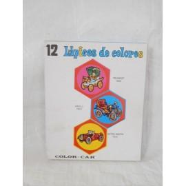 Caja de pinturas 12 lápices. Ilasa. Coches clásicos. Años 70.