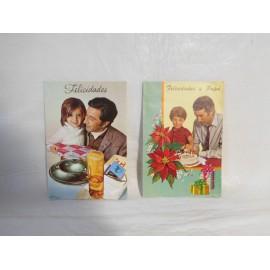 Dos tarjetas de Felicitación para Papa. Años 70.