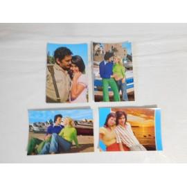Cuatro postales escenas de enamorados y novios. Años 70.