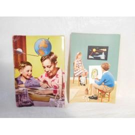 Dos postales escenas de niños. Años 60.