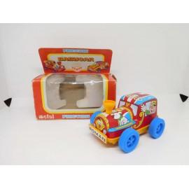Tren hojalata y plástico baby car. Fabricado por Roman. Años 80.
