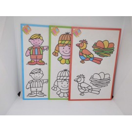 Lote de tres cuadernos de colorear. Años 80-90
