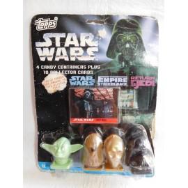 Blister de Star Wars con cuatro dispensadores de caramelos y 10 trading card. Topps.