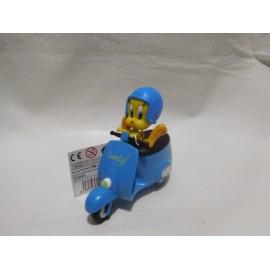 Figura pvc  Piolin montado en moto Vespa. Versión azul. Warner Bross. Nuevo.