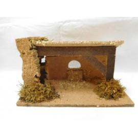 Antiguo portal de Belén en corcho y madera. Años 70. Fabricado por Oliver.
