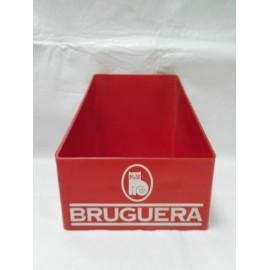 Caja expositor de Bruguera, en plastico rojo y logotipo del gato. Años 70-80. Publicidad.