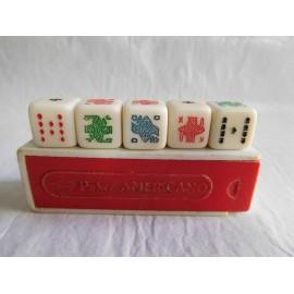 Juego de dados Poker americano con estuche.  Años 60.