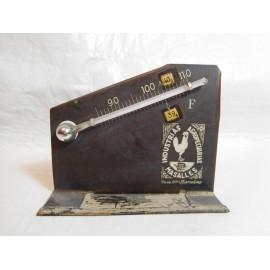 Termómetro de sobremesa antiguo con publicidad de Industrias Agropecuarias Masalles. Años 50-60