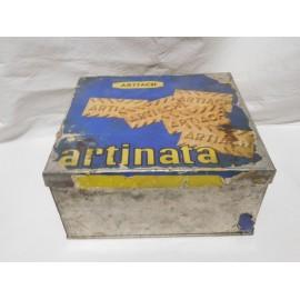Antigua caja retornable en laton y papel galletas Artiach Artinata. Años 50-60