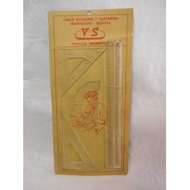 Antiguo juego de reglas de 1959 en plástico irrompible