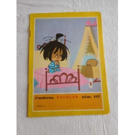 Cuaderno de colegio Familia Telerín años 60. Modelo Cleo y Cuquín rezando.