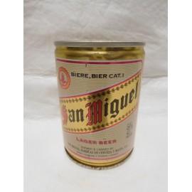 Antigua lata de cerveza San Miguel 25 cl año 88.  Envasado para Iberia. Abierta