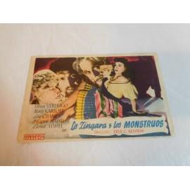 Programa de mano  La Zingara y los Monstruos. Publicidad Cine Apolo.